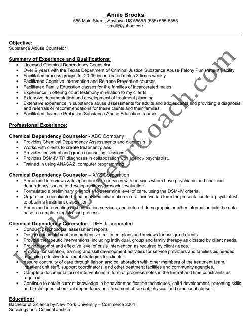 Download The Chemical Dependency Counselor Resume Sample