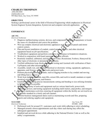 download the electrical technician resume sample one in pdf - Sample Resume For Electrical Technician