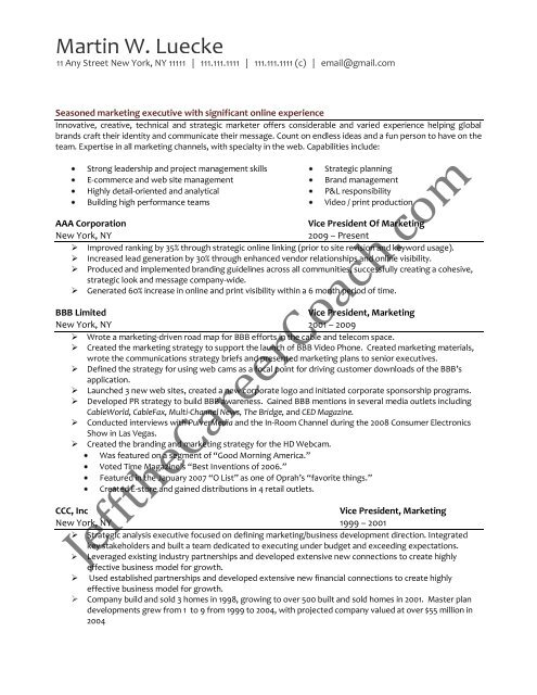 download the vice president of marketing resume sample two in