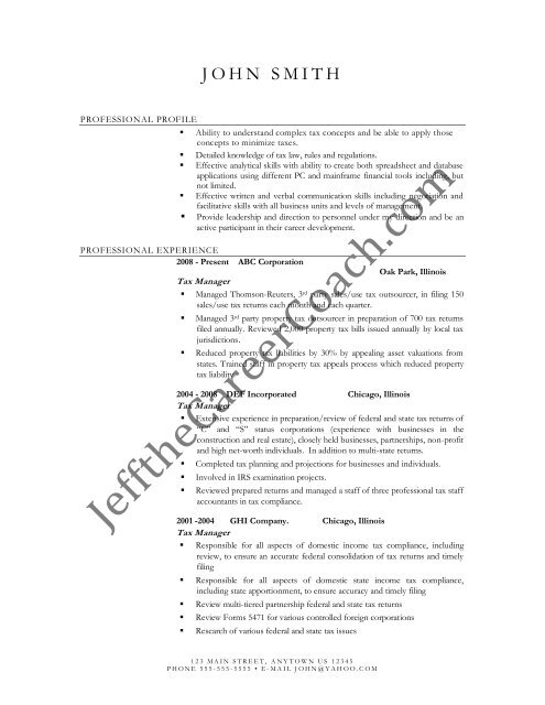 Download The Tax Manager Resume Sample Two In Pdf