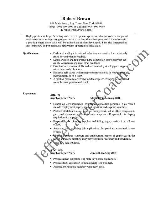 Download The Secretary Resume Sample Three In PDF