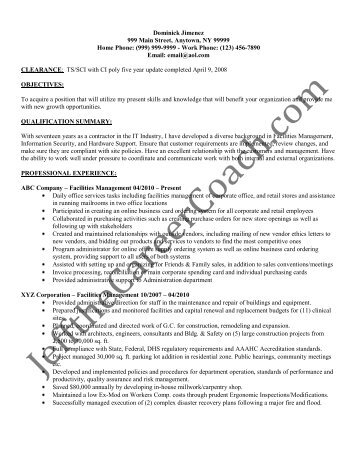Download The Facilities Management Resume Sample One In PDF.  Facilities Management Resume
