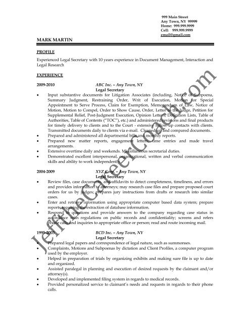 Download The Legal Secretary Resume Sample Two In Pdf
