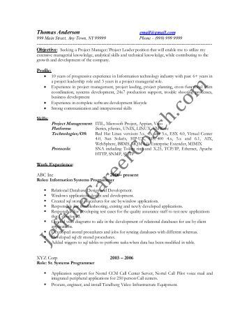 system programmer resume