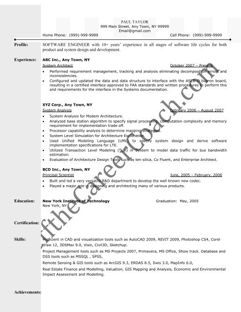 Download The Systems Architect Resume Sample Three In PDF
