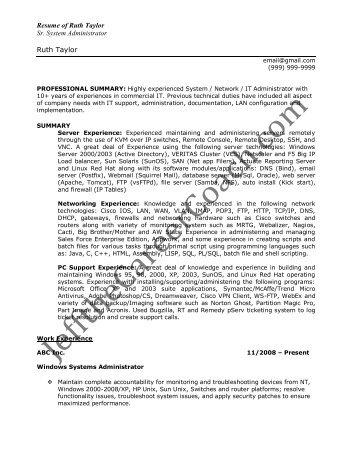 system administrator resume sample doc plush system administrator - System Administrator Resume Sample