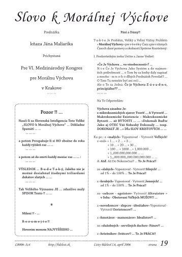 Ján Maliarik: Slovo k Morálnej Výchove. (pdf, 266 KB) - Listy Bdelosť