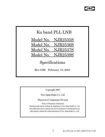 Ku band PLL LNB Model No. NJR2535S Model No. NJR2536S ...
