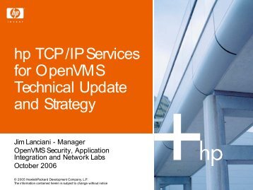 TCP/IP Services for OpenVMS Technical Update and Strategy