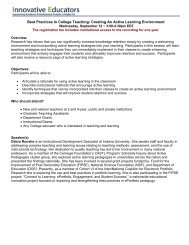 Best Practices In College Teaching: Creating An Active - Innovative ...
