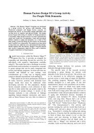 Human Factors Design Of A Group Activity For ... - Gerontechnology