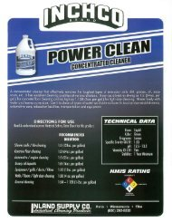 A concentrated cleaner that eitectively removes ... - Inland Supply Co.