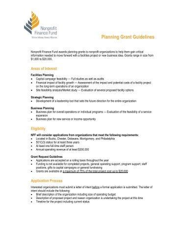 Planning Grants - Nonprofit Finance Fund