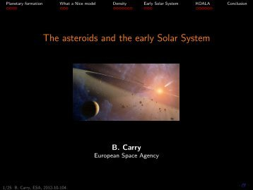 The asteroids and the early Solar System: from 3-D shape ... - ESA