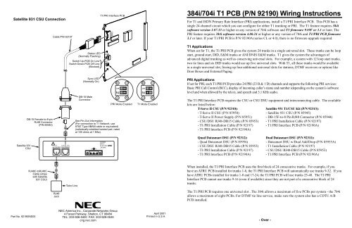 t1 wiring pinout 384i 704i t1 pcb  p n 92190  wiring instructions support  t1 pcb  p n 92190  wiring instructions