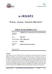 e-IRGSP2 deliverable D5.1