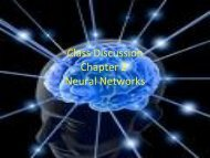 Class Discussion Chapter 2 Neural Networks