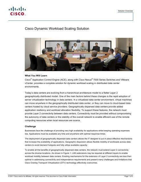 Cisco Dynamic Workload Scaling Solution - Blog Cisco Data center