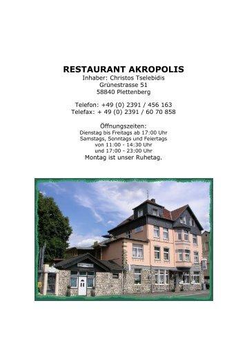 Speisekarte als pdf zum Herunterladen - Restaurant Akropolis