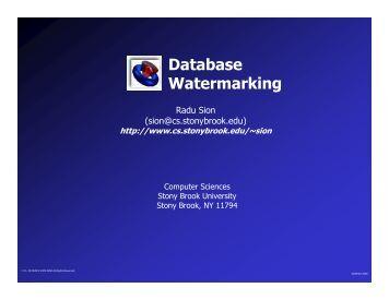 Database Watermarking - Radu Sion