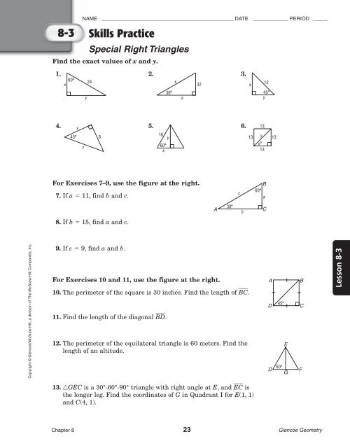 8 3 Skills Practice Special Right Triangles Answers