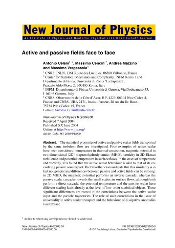 Active and passive fields face to face - Sapienza