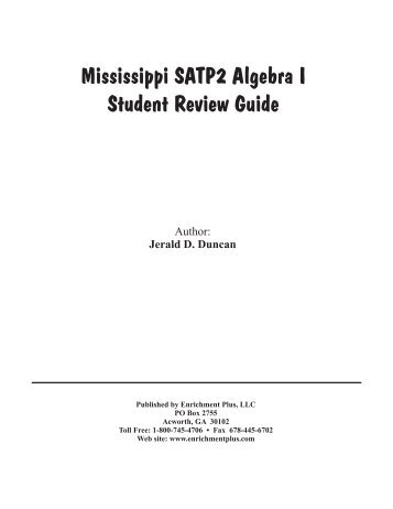 Mississippi SATP2 Algebra I Student Review Guide - Enrichment Plus