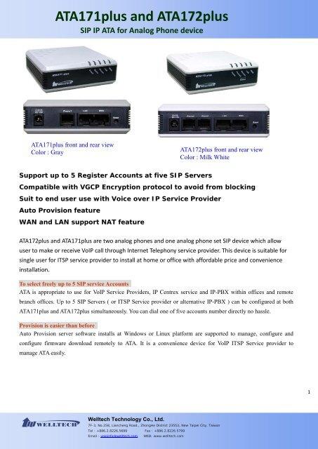 ATA171plus and ATA172plus SIP IP ATA for Analog Phone device