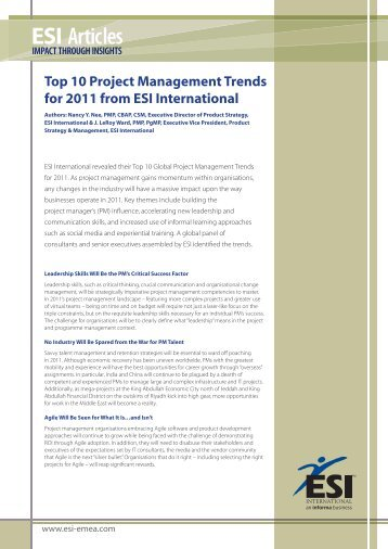 Top 10 Project Management Trends for 2011 from ESI International