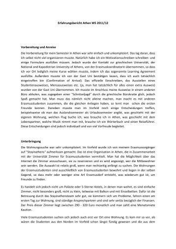 Erfahrungsbericht Athen WS 2011/12 Vorbereitung und Anreise Die ...