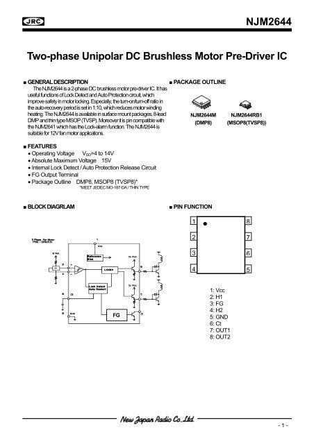 NJM2644 Two-phase Unipolar DC Brushless Motor Pre-Driver IC