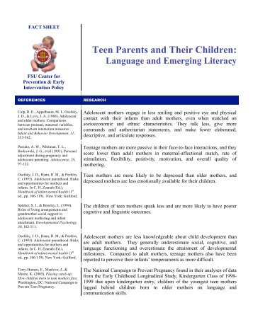 Teen Parents and Their Children: - Center for Prevention and Early ...