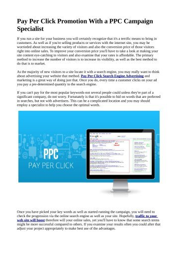 Pay Per Click Promotion With a PPC Campaign Specialist