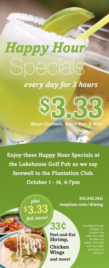 Lakehouse Golf Pub Happy Hour Specials - Sea Pines Resort