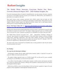The Mobile Phone Insurance Ecosystem Market Size, Share, Growth & Research Report 2015 – 2020 Radiant Insights, Inc