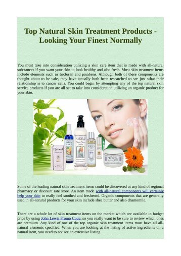 Top Natural Skin Treatment Products - Looking Your Finest Normally