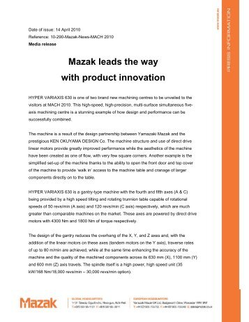 Mazak leads the way with product innovation