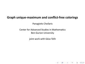 Graph unique-maximum and conflict-free colorings - Corelab