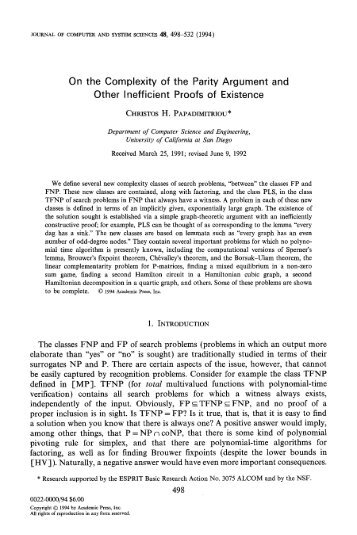 On the Complexity of the Parity Argument and Other ... - Corelab
