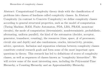 Abstract: Computational Complexity theory deals with the ... - Corelab