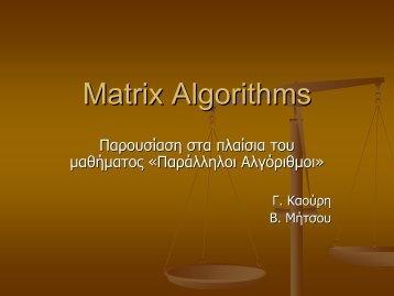 Matrix Algorithms - Corelab