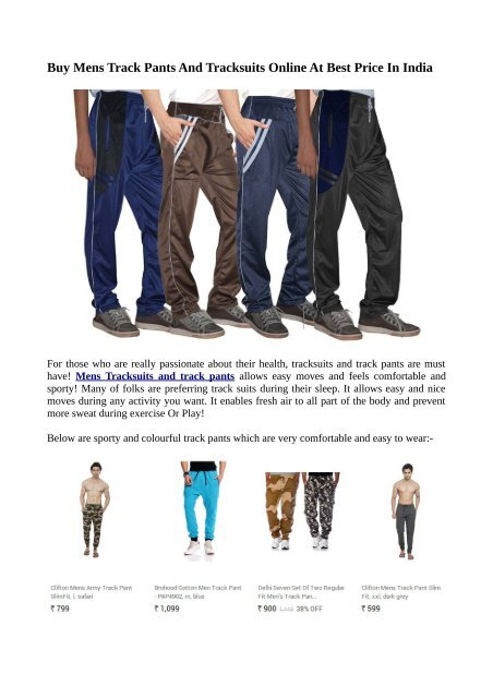 1dd96e651b85b Buy Mens Track Pants And Tracksuits Online At Best Price In India