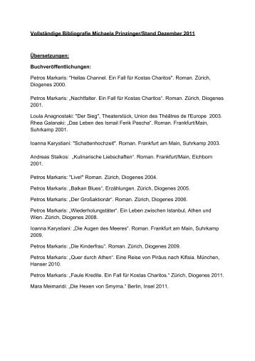 Vollständige Bibliografie Michaela Prinzinger/Stand Dezember 2011 ...