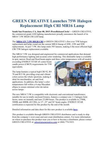 GREEN CREATIVE Launches 75W Halogen Replacement High CRI MR16 Lamp