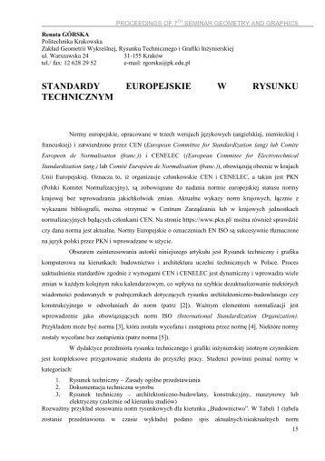 STANDARDY EUROPEJSKIE W RYSUNKU TECHNICZNYM