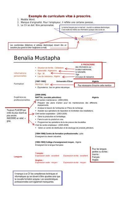 Assistant Curriculum Vitae Service De Placement Du College De