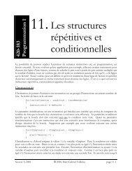 11. Les structures répétitives et conditionnelles