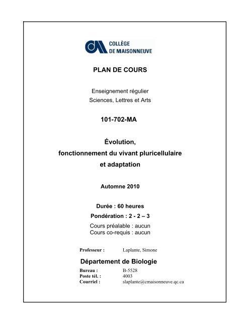 Bio 702 Nouvelle Page 1 Collège De Maisonneuve