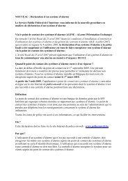 Déclaration d'un système d'alarme Le Service Public Fédéral de l ...