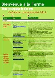 Calendrier évènementiel 2011 - Bienvenue à la Ferme